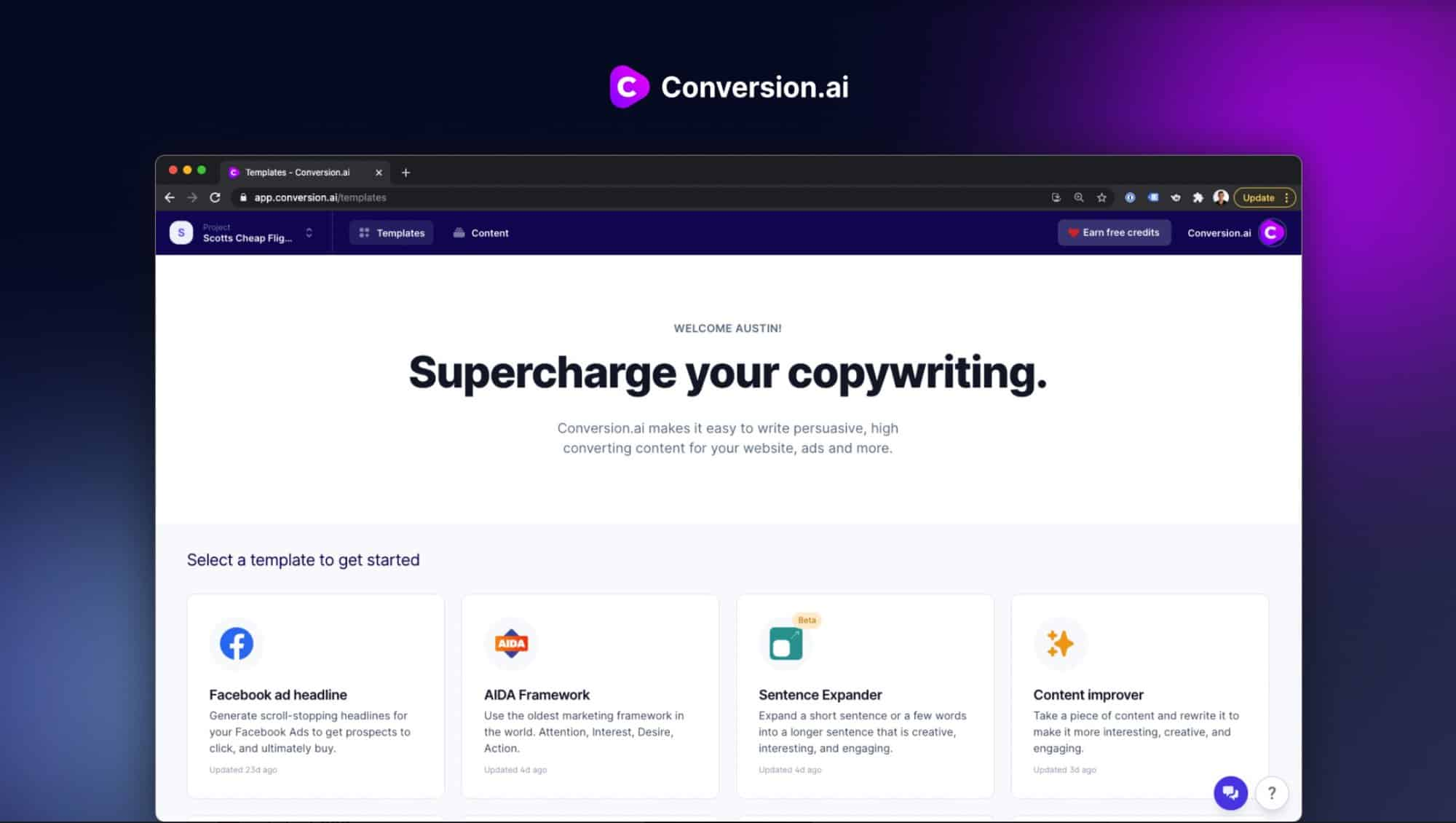 conversion.ai dashboard - comparewise